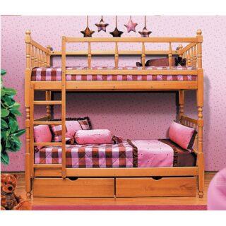 Детская Кровать 2-х ярусн массив ФАНТ с фигурной спинкой