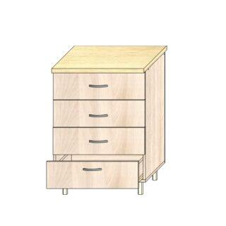 Кухонный стол 60см. 4 ящика