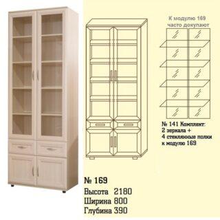 Шкаф для книг со стеклом №169