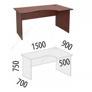 Рубин. Стол угловой 1500х900х750 правый