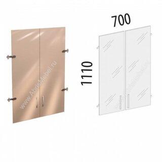 Рубин. Стеллаж 700х370х1860 Двери стекло на 3 секции