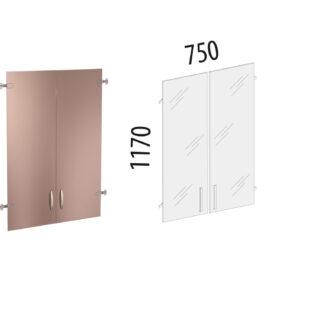 Альфа. Стеллаж 760х390х2020 Двери стекло на 3 секции