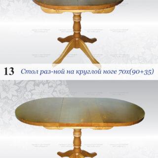 Стол обеденный раздвижной на круглой ноге 70х90/125